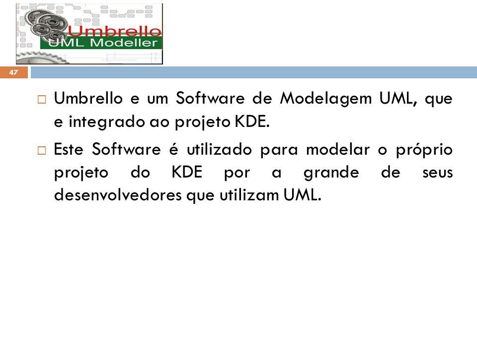 Umbrello e um Software de Modelagem UML, que e integrado ao projeto KDE. Este Software é utilizado para modelar o próprio projeto do KDE por a grande