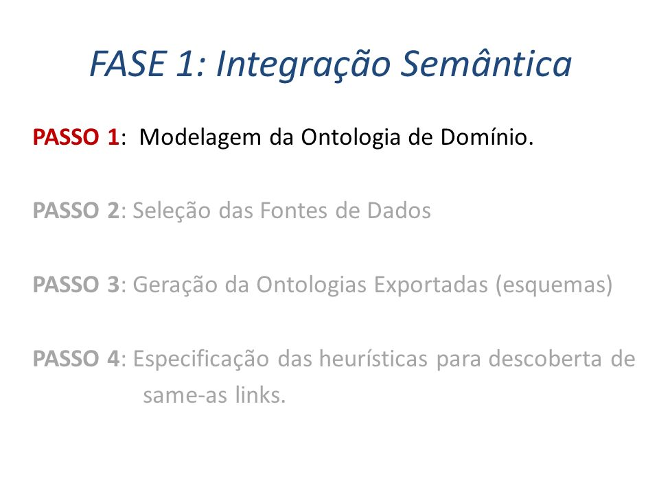FASE 1: Integração Semântica PASSO 1: Modelagem da Ontologia de Domínio. PASSO 2: Seleção das Fontes de Dados PASSO 3: Geração da Ontologias Exportada