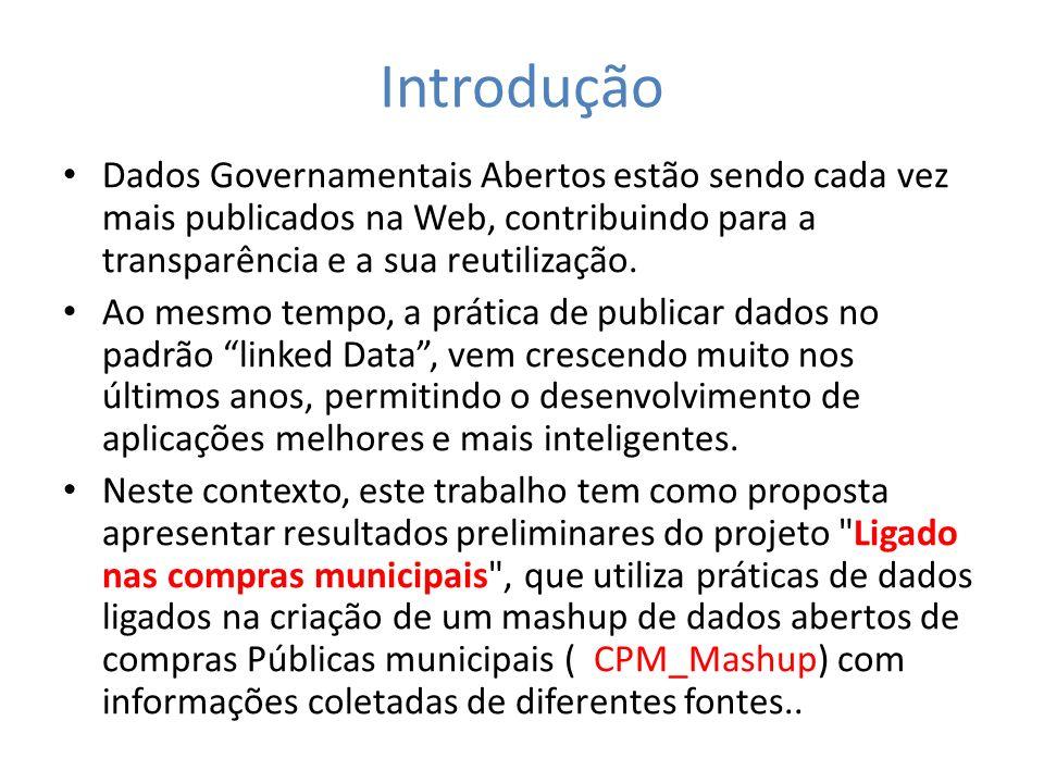 Introdução Dados Governamentais Abertos estão sendo cada vez mais publicados na Web, contribuindo para a transparência e a sua reutilização. Ao mesmo