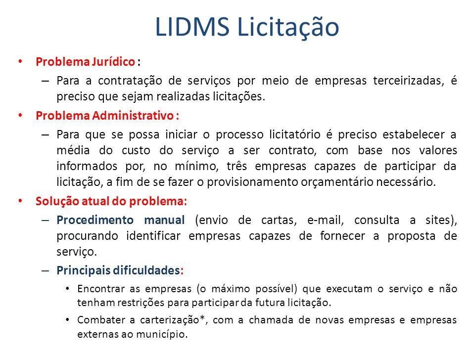 LIDMS Licitação Problema Jurídico : – Para a contratação de serviços por meio de empresas terceirizadas, é preciso que sejam realizadas licitações.
