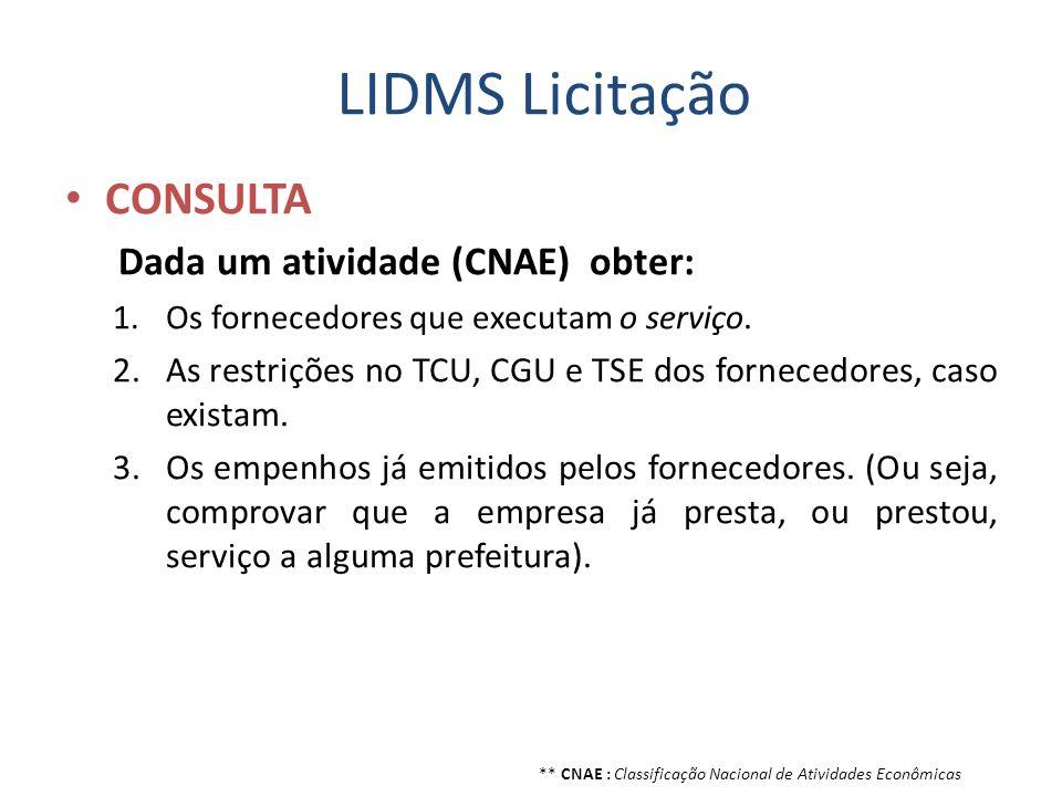 LIDMS Licitação CONSULTA Dada um atividade (CNAE) obter: 1.Os fornecedores que executam o serviço. 2.As restrições no TCU, CGU e TSE dos fornecedores,