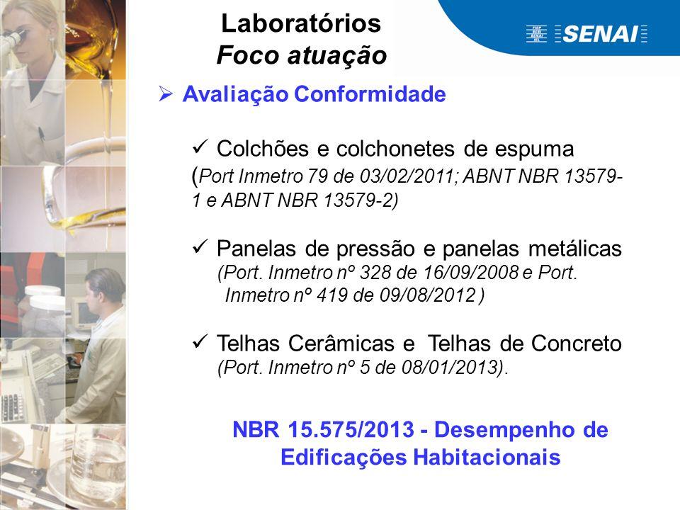 Laboratórios Foco atuação Avaliação Conformidade Colchões e colchonetes de espuma ( Port Inmetro 79 de 03/02/2011; ABNT NBR 13579- 1 e ABNT NBR 13579-