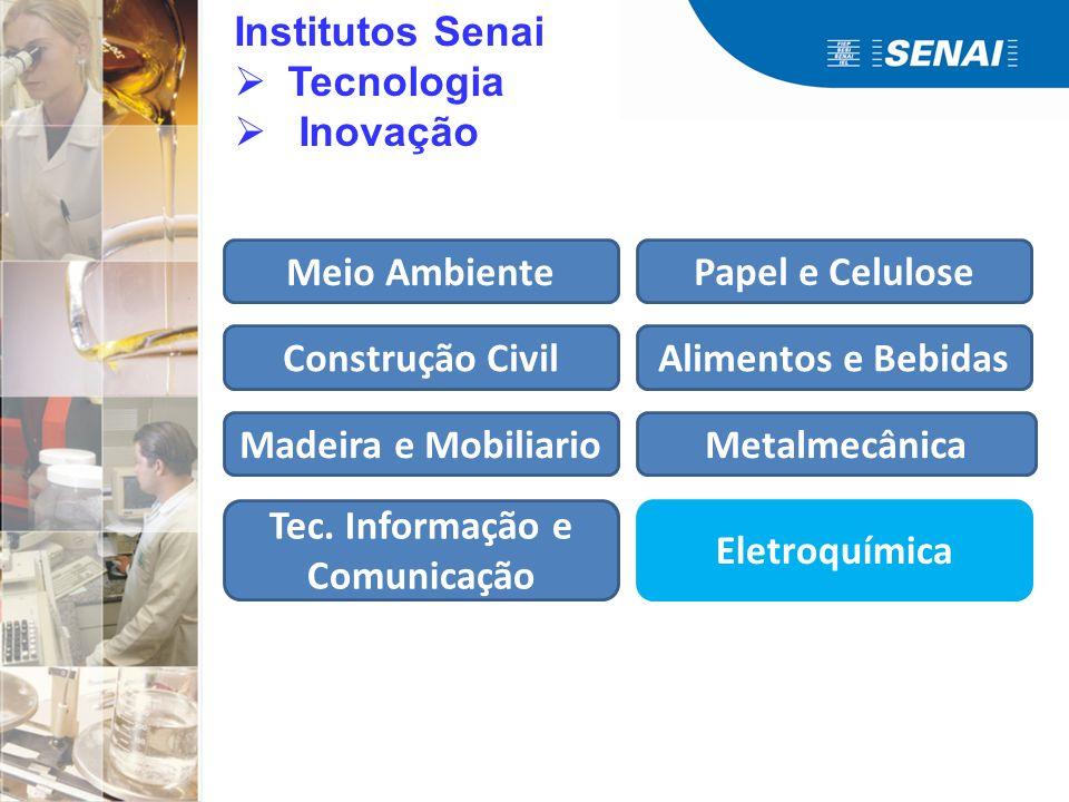 Institutos Senai Tecnologia Inovação Meio Ambiente Construção Civil Madeira e Mobiliario Tec. Informação e Comunicação Papel e Celulose Alimentos e Be