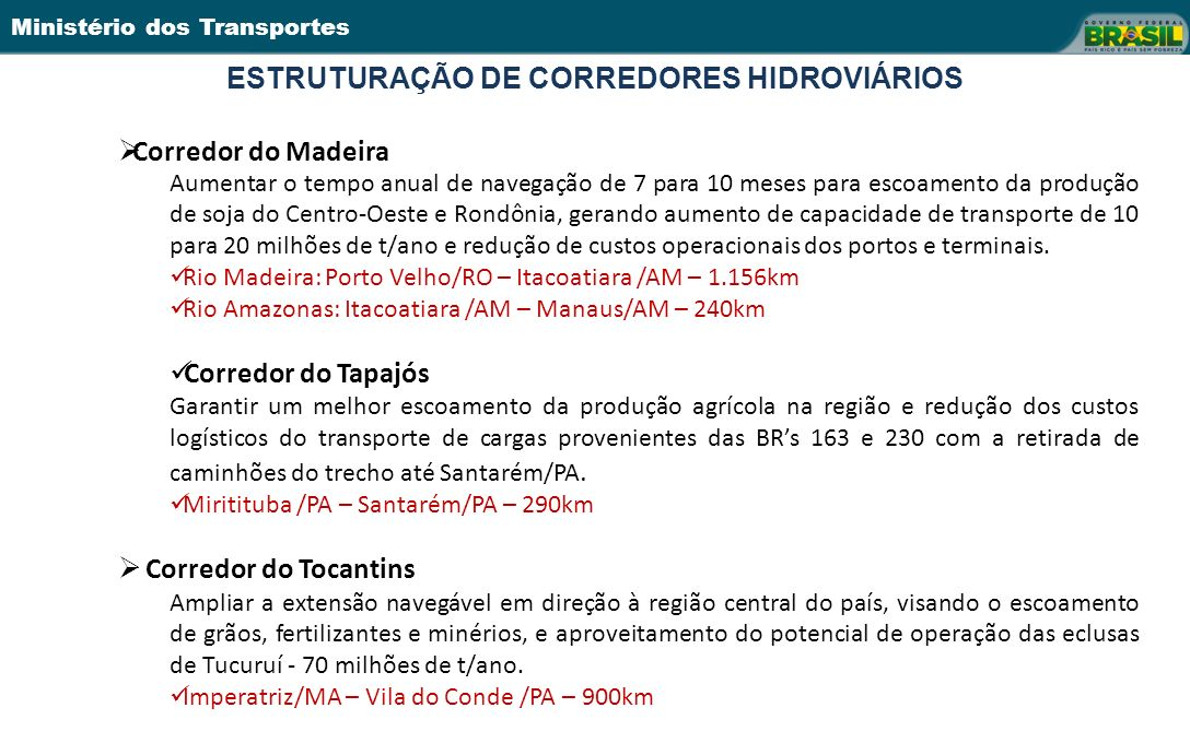 Ministério dos Transportes ESTRUTURAÇÃO DE CORREDORES HIDROVIÁRIOS 14 Corredor do Madeira Aumentar o tempo anual de navegação de 7 para 10 meses para escoamento da produção de soja do Centro-Oeste e Rondônia, gerando aumento de capacidade de transporte de 10 para 20 milhões de t/ano e redução de custos operacionais dos portos e terminais.