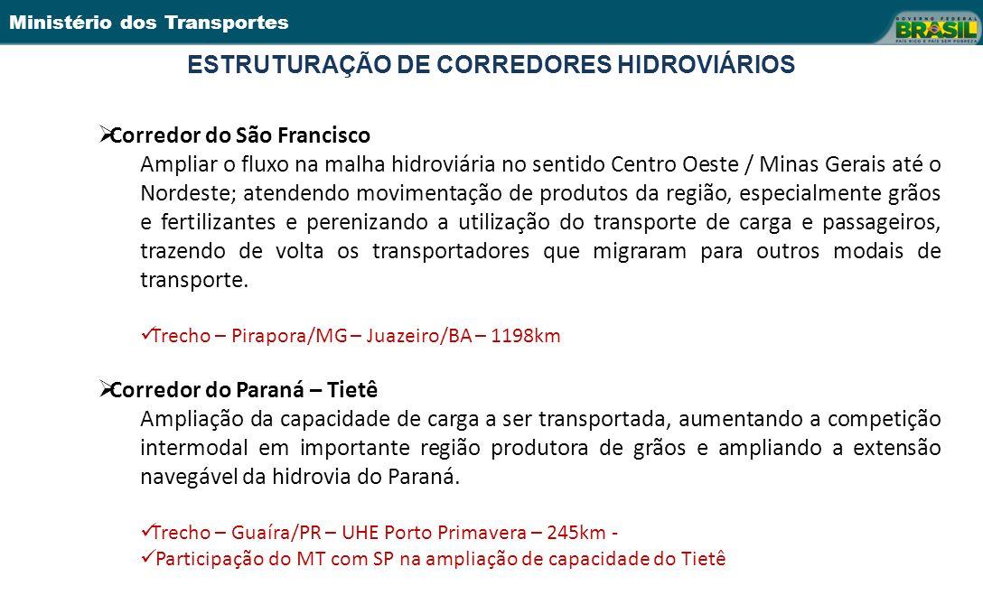 Ministério dos Transportes ESTRUTURAÇÃO DE CORREDORES HIDROVIÁRIOS 15 Corredor do São Francisco Ampliar o fluxo na malha hidroviária no sentido Centro