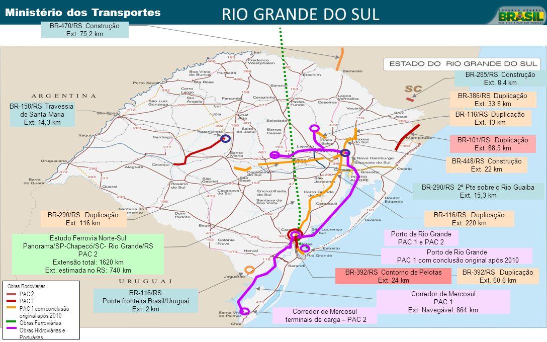 Ministério dos Transportes BR-392/RS Contorno de Pelotas Ext. 24 km BR-448/RS Construção Ext. 22 km BR-116/RS Duplicação Ext. 13 km BR-116/RS Duplicaç
