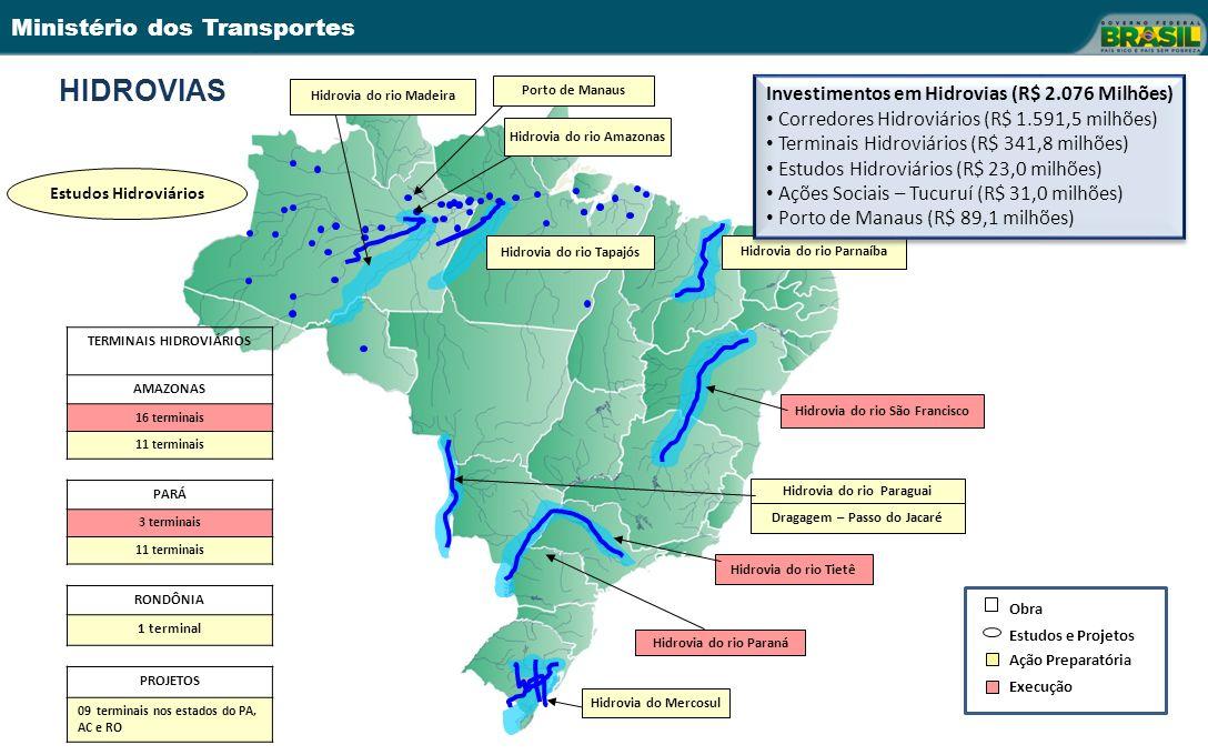 Ministério dos Transportes TERMINAIS HIDROVIÁRIOS AMAZONAS 16 terminais 11 terminais PARÁ 3 terminais 11 terminais RONDÔNIA 1 terminal PROJETOS 09 terminais nos estados do PA, AC e RO Hidrovia do rio Madeira Hidrovia do rio São Francisco Hidrovia do rio Paraná Hidrovia do rio Paraguai Dragagem – Passo do Jacaré Hidrovia do rio Tietê Hidrovia do Mercosul Hidrovia do rio Amazonas Hidrovia do rio Tapajós Porto de Manaus Estudos Hidroviários Hidrovia do rio Parnaíba Obra Estudos e Projetos Ação Preparatória Execução Investimentos em Hidrovias (R$ 2.076 Milhões) Corredores Hidroviários (R$ 1.591,5 milhões) Terminais Hidroviários (R$ 341,8 milhões) Estudos Hidroviários (R$ 23,0 milhões) Ações Sociais – Tucuruí (R$ 31,0 milhões) Porto de Manaus (R$ 89,1 milhões) Investimentos em Hidrovias (R$ 2.076 Milhões) Corredores Hidroviários (R$ 1.591,5 milhões) Terminais Hidroviários (R$ 341,8 milhões) Estudos Hidroviários (R$ 23,0 milhões) Ações Sociais – Tucuruí (R$ 31,0 milhões) Porto de Manaus (R$ 89,1 milhões) HIDROVIAS