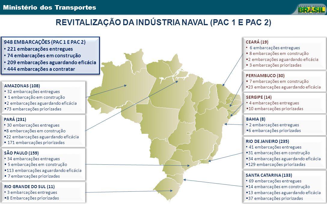 Ministério dos Transportes REVITALIZAÇÃO DA INDÚSTRIA NAVAL (PAC 1 E PAC 2) 948 EMBARCAÇÕES (PAC 1 E PAC 2) 221 embarcações entregues 74 embarcações em construção 209 embarcações aguardando eficácia 444 embarcações a contratar 948 EMBARCAÇÕES (PAC 1 E PAC 2) 221 embarcações entregues 74 embarcações em construção 209 embarcações aguardando eficácia 444 embarcações a contratar PARÁ (231) 30 embarcações entregues 8 embarcações em construção 22 embarcações aguardando eficácia 171 embarcações priorizadas AMAZONAS (108) 32 embarcações entregues 1 embarcação em construção 2 embarcações aguardando eficácia 73 embarcações priorizadas BAHIA (8) 2 embarcações entregues 6 embarcações priorizadas RIO DE JANEIRO (235) 41 embarcações entregues 31 embarcações em construção 34 embarcações aguardando eficácia 129 embarcações priorizadas SANTA CATARINA (133) 69 embarcações entregues 14 embarcações em construção 13 embarcações aguardando eficácia 37 embarcações priorizadas SÃO PAULO (159) 34 embarcações entregues 5 embarcações em construção 113 embarcações aguardando eficácia 7 embarcações priorizadas RIO GRANDE DO SUL (11) 3 embarcações entregues 8 Embarcações priorizadas CEARÁ (19) 6 embarcações entregues 8 embarcações em construção 2 embarcações aguardando eficácia 3 embarcações priorizadas PERNAMBUCO (30) 7 embarcações em construção 23 embarcações aguardando eficácia SERGIPE (14) 4 embarcações entregues 10 embarcações priorizadas
