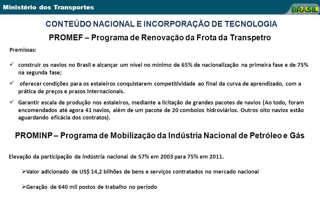 Ministério dos Transportes CONTEÚDO NACIONAL E INCORPORAÇÃO DE TECNOLOGIA PROMEF – Programa de Renovação da Frota da Transpetro Premissas: construir o