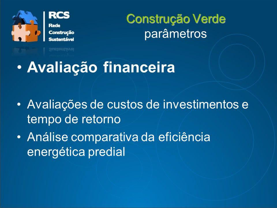 Construção Verde Construção Verde parâmetros Avaliação financeira Avaliações de custos de investimentos e tempo de retorno Análise comparativa da eficiência energética predial