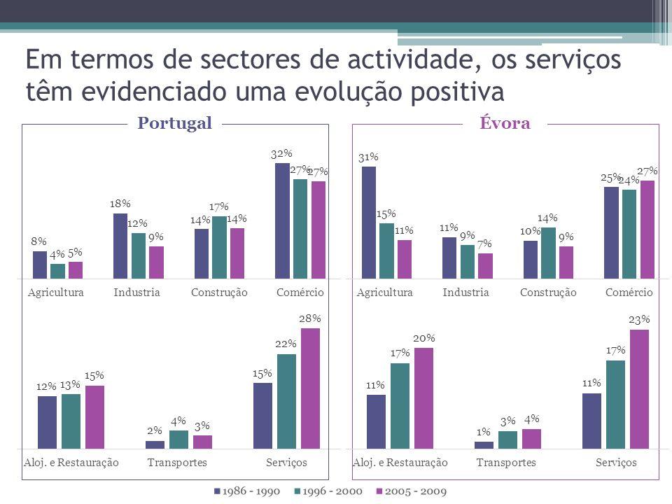 Em termos de sectores de actividade, os serviços têm evidenciado uma evolução positiva ÉvoraPortugal