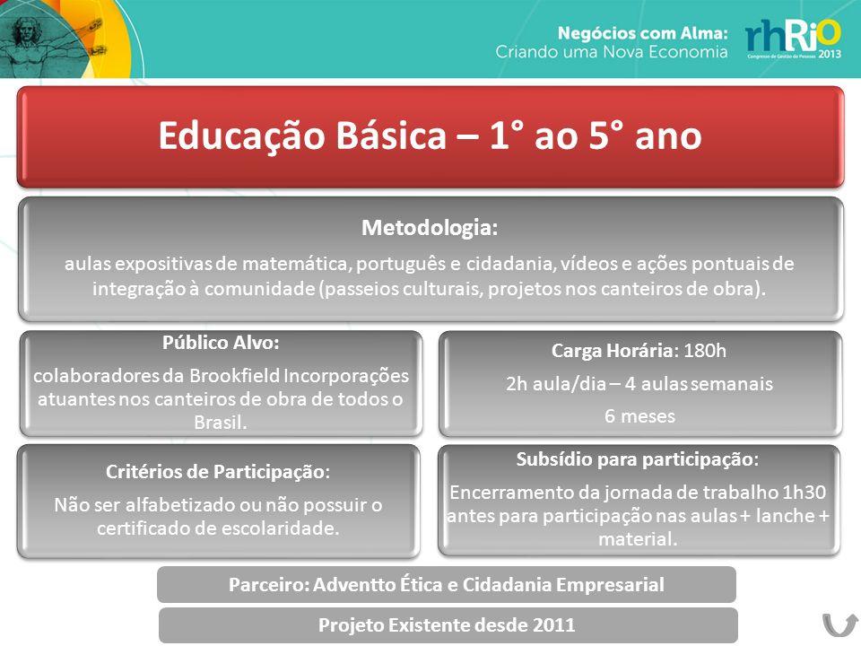 Educação Básica – 1° ao 5° ano Metodologia: aulas expositivas de matemática, português e cidadania, vídeos e ações pontuais de integração à comunidade (passeios culturais, projetos nos canteiros de obra).
