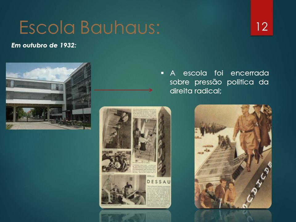 12 Em outubro de 1932: Escola Bauhaus: A escola foi encerrada sobre pressão politica da direita radical;