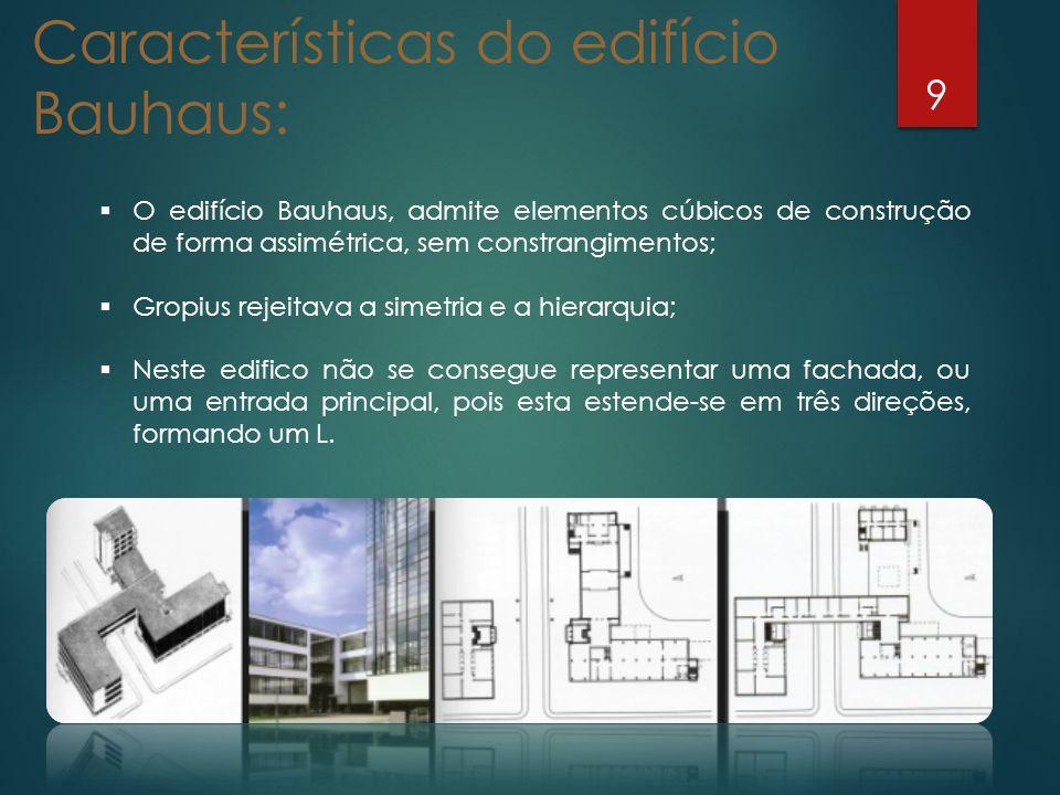9 O edifício Bauhaus, admite elementos cúbicos de construção de forma assimétrica, sem constrangimentos; Gropius rejeitava a simetria e a hierarquia;