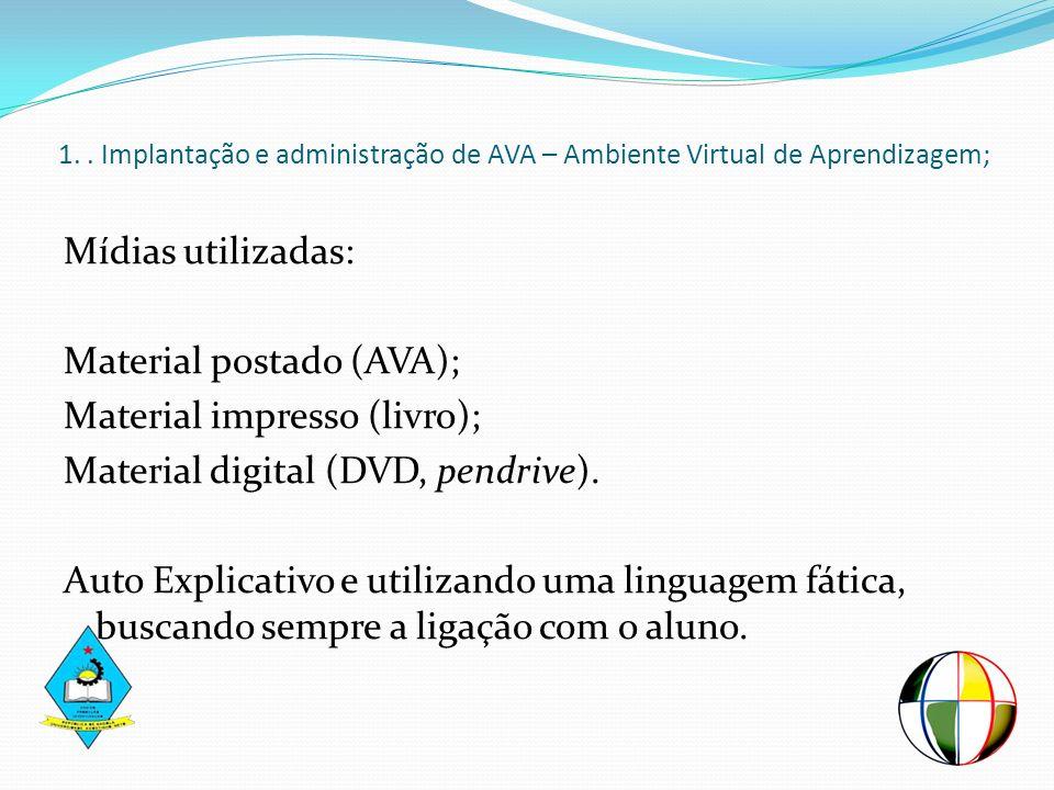 Mídias utilizadas: Material postado (AVA); Material impresso (livro); Material digital (DVD, pendrive). Auto Explicativo e utilizando uma linguagem fá