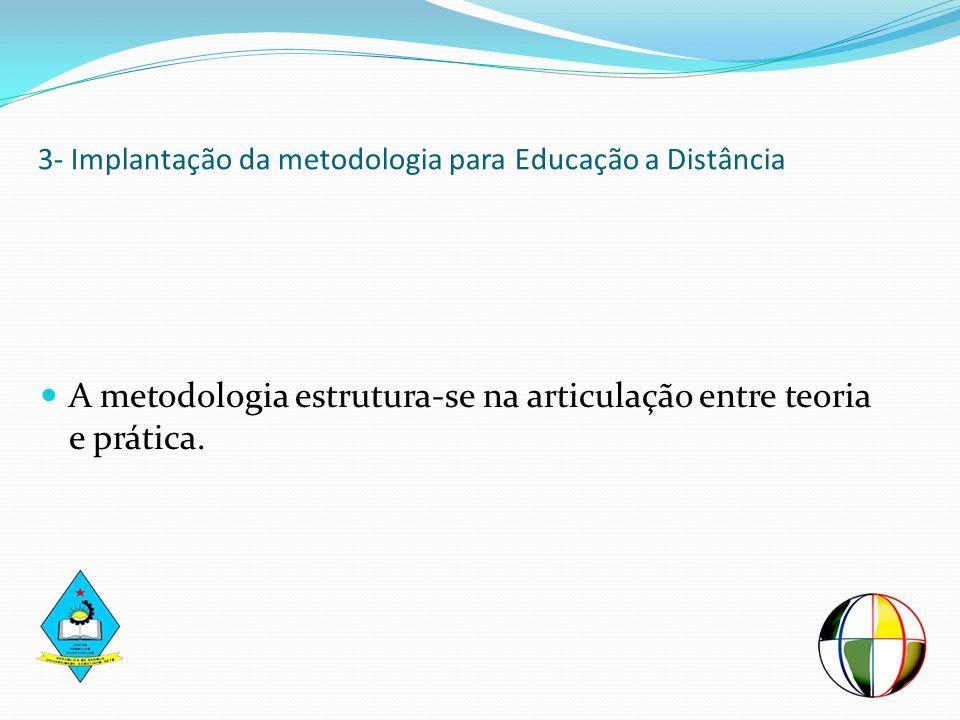 3- Implantação da metodologia para Educação a Distância A metodologia estrutura-se na articulação entre teoria e prática.