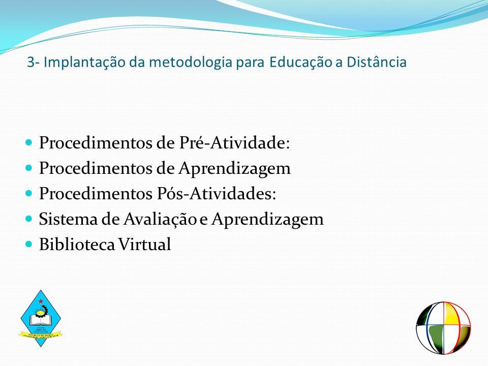 3- Implantação da metodologia para Educação a Distância Procedimentos de Pré-Atividade: Procedimentos de Aprendizagem Procedimentos Pós-Atividades: Si