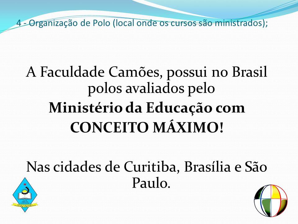 4 - Organização de Polo (local onde os cursos são ministrados); A Faculdade Camões, possui no Brasil polos avaliados pelo Ministério da Educação com C