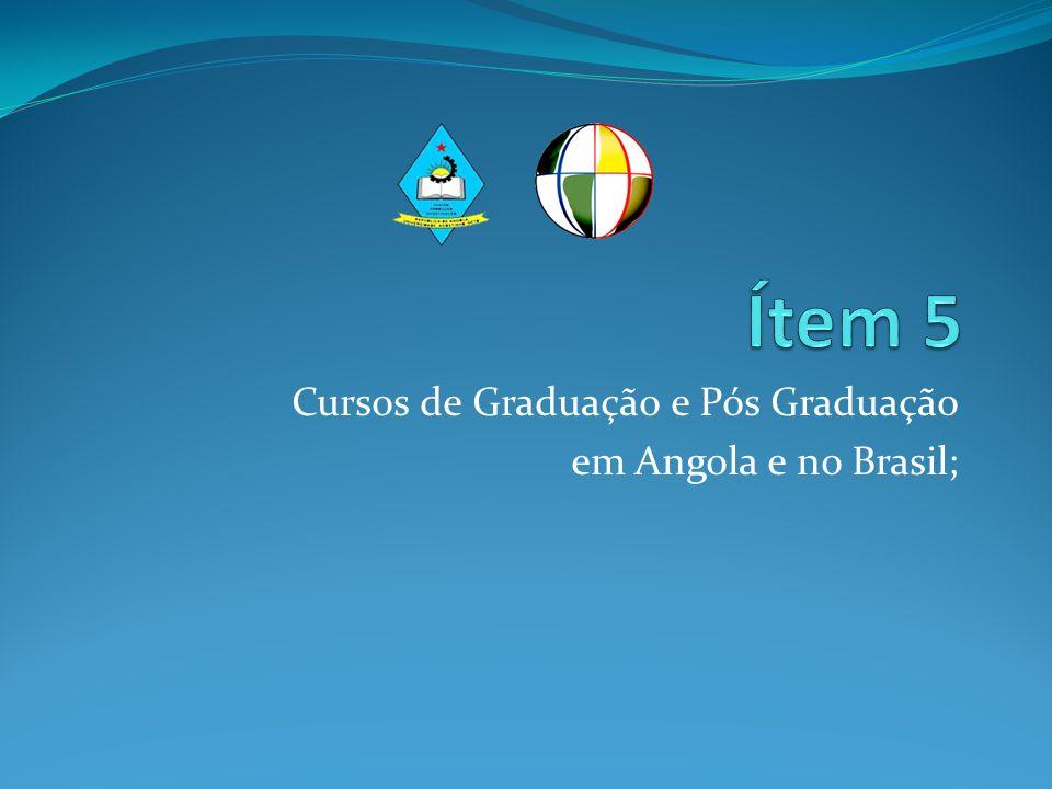 Cursos de Graduação e Pós Graduação em Angola e no Brasil;