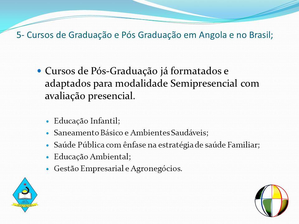 5- Cursos de Graduação e Pós Graduação em Angola e no Brasil; Cursos de Pós-Graduação já formatados e adaptados para modalidade Semipresencial com ava