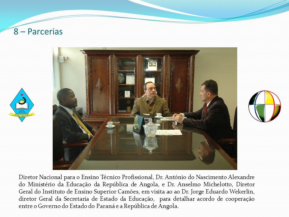 8 – Parcerias Diretor Nacional para o Ensino Técnico Profissional, Dr. António do Nascimento Alexandre do Ministério da Educação da República de Angol