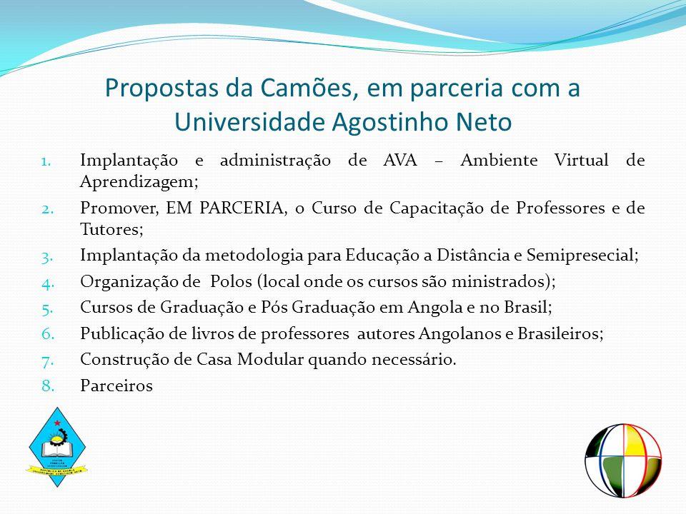 Propostas da Camões, em parceria com a Universidade Agostinho Neto 1. Implantação e administração de AVA – Ambiente Virtual de Aprendizagem; 2. Promov