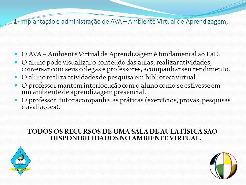 1. Implantação e administração de AVA – Ambiente Virtual de Aprendizagem; O AVA – Ambiente Virtual de Aprendizagem é fundamental ao EaD. O aluno pode