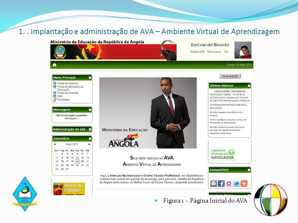 Figura 1 – Página Inicial do AVA 1.. Implantação e administração de AVA – Ambiente Virtual de Aprendizagem