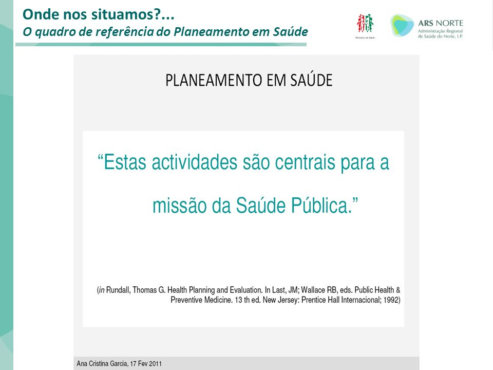 Plano Local de Saúde: COMPROMISSOS ASSUMIDOS/ A ASSUMIR DSP: o Proposta de Termos de Referência (Partes I e II) o Apoio Técnico Coordenador da USP: o Assegurar a coordenação técnica e a elaboração da proposta de Plano Local de Saúde do ACeS/ULS até 15 de Setembro de 2011 USP-DE do ACeS-Presidente do CA: o Para além do compromisso geral de elaboração do PLS implicitamente assumido pelos DE dos ACeS/Presidentes dos CA e respectivas USP, existe um compromisso específico a ser assumido entre o Coordenador de cada USP e o DE do respectivo ACeS (e entre este e o Presidente do CA da ULS), de acordo com o contexto e necessidades locais.
