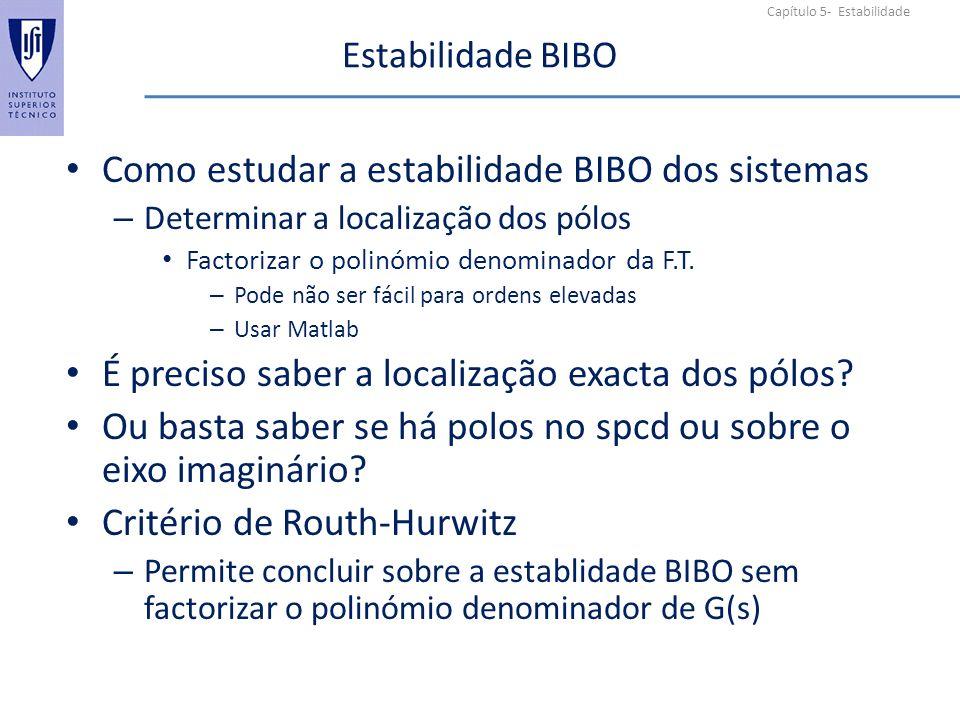 Capítulo 5- Estabilidade Estabilidade BIBO Como estudar a estabilidade BIBO dos sistemas – Determinar a localização dos pólos Factorizar o polinómio denominador da F.T.