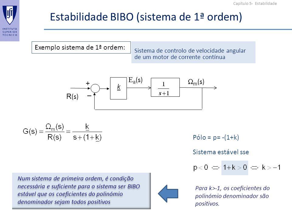 Capítulo 5- Estabilidade Estabilidade BIBO (sistema de 1ª ordem) m (s) + _ k a (s) R (s) Exemplo sistema de 1ª ordem: Sistema de controlo de velocidade angular de um motor de corrente contínua Pólo = p= -(1+k) Sistema estável sse Para k>-1, os coeficientes do polinómio denominador são positivos.