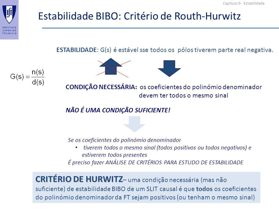 Capítulo 5- Estabilidade Estabilidade BIBO: Critério de Routh-Hurwitz ESTABILIDADE: G(s) é estável sse todos os pólos tiverem parte real negativa.