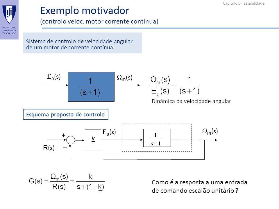 Capítulo 5- Estabilidade Exemplo motivador (controlo veloc. motor corrente contínua) Sistema de controlo de velocidade angular de um motor de corrente