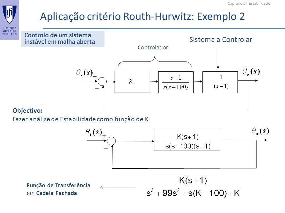 Capítulo 5- Estabilidade Aplicação critério Routh-Hurwitz: Exemplo 2 + _ Sistema a Controlar Controlador Objectivo: Fazer análise de Estabilidade como função de K + _ Controlo de um sistema instável em malha aberta Função de Transferência em Cadeia Fechada