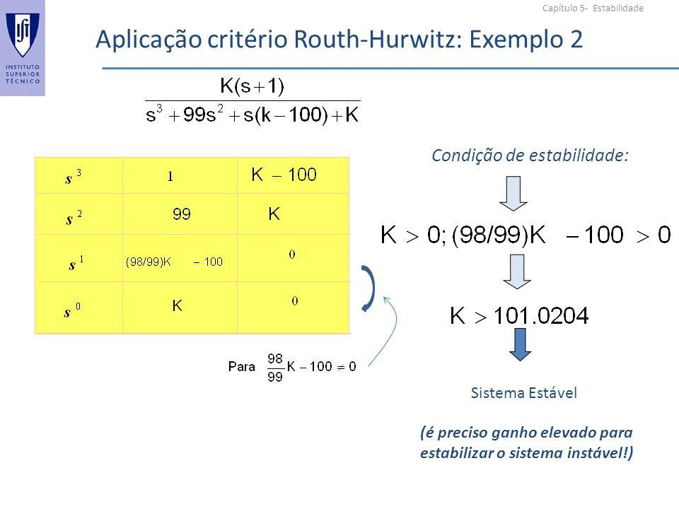 Capítulo 5- Estabilidade Aplicação critério Routh-Hurwitz: Exemplo 2 Condição de estabilidade: Sistema Estável (é preciso ganho elevado para estabilizar o sistema instável!)