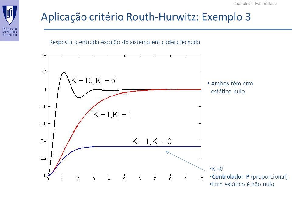 Capítulo 5- Estabilidade Aplicação critério Routh-Hurwitz: Exemplo 3 Resposta a entrada escalão do sistema em cadeia fechada K I =0 Controlador P (proporcional) Erro estático é não nulo Ambos têm erro estático nulo