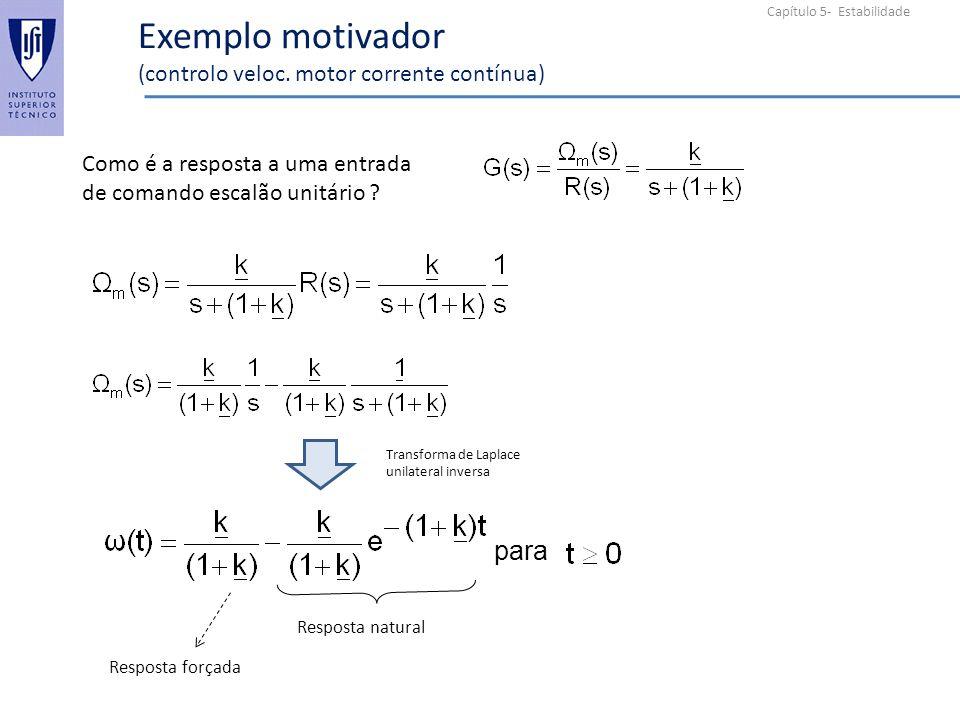 Capítulo 5- Estabilidade Exemplo motivador (controlo veloc. motor corrente contínua) Como é a resposta a uma entrada de comando escalão unitário ? par