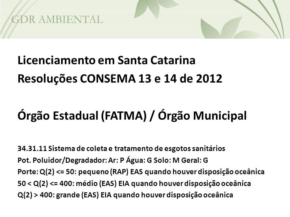 Licenciamento em Santa Catarina Resoluções CONSEMA 13 e 14 de 2012 Órgão Estadual (FATMA) / Órgão Municipal 34.31.11 Sistema de coleta e tratamento de