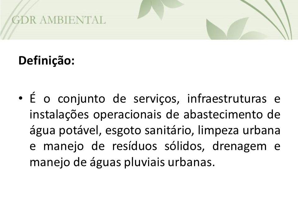 Definição: É o conjunto de serviços, infraestruturas e instalações operacionais de abastecimento de água potável, esgoto sanitário, limpeza urbana e m