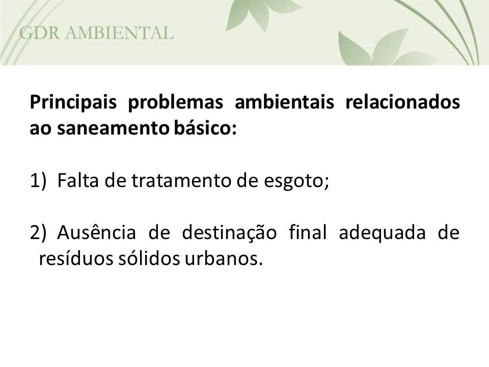 Principais problemas ambientais relacionados ao saneamento básico: 1)Falta de tratamento de esgoto; 2)Ausência de destinação final adequada de resíduo