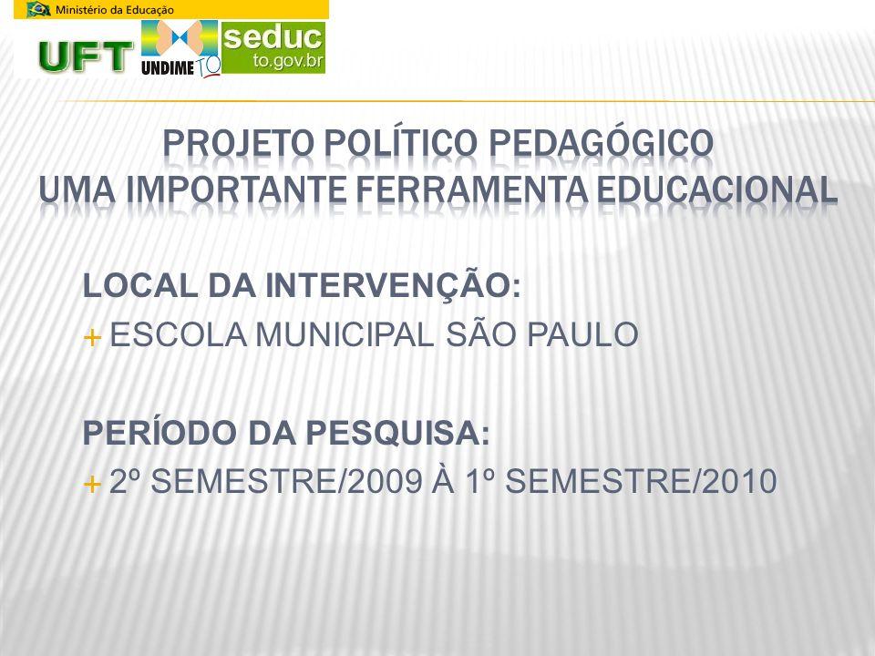 LOCAL DA INTERVENÇÃO: ESCOLA MUNICIPAL SÃO PAULO PERÍODO DA PESQUISA: 2º SEMESTRE/2009 À 1º SEMESTRE/2010