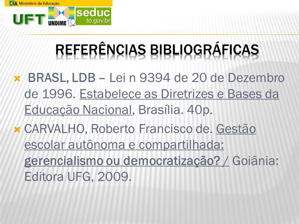 BRASL, LDB – Lei n 9394 de 20 de Dezembro de 1996. Estabelece as Diretrizes e Bases da Educação Nacional, Brasília. 40p. CARVALHO, Roberto Francisco d