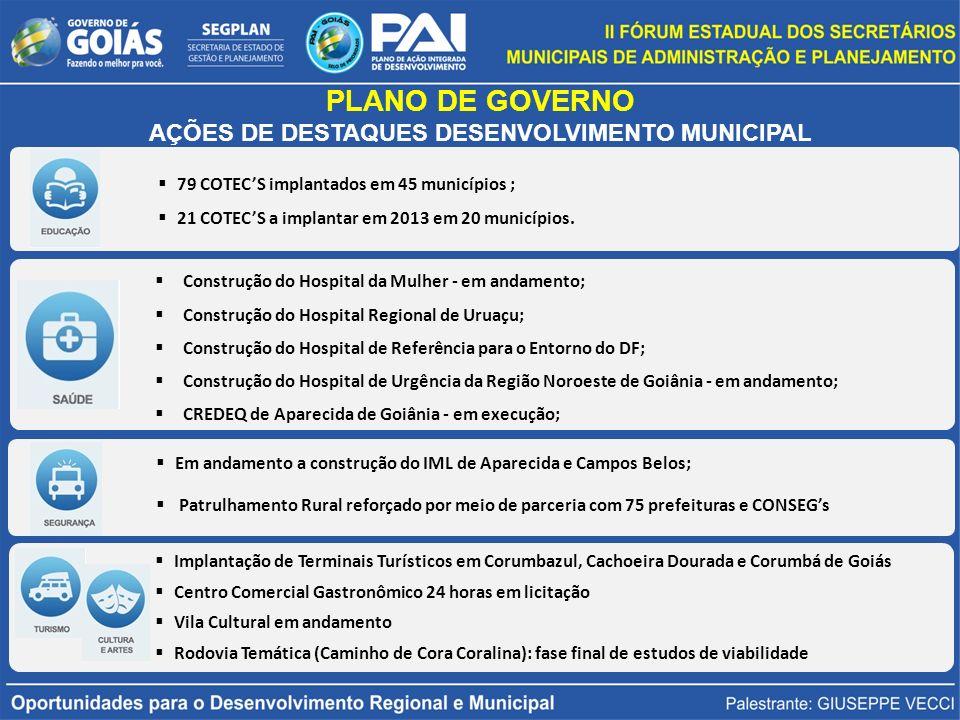 79 COTECS implantados em 45 municípios ; 21 COTECS a implantar em 2013 em 20 municípios.