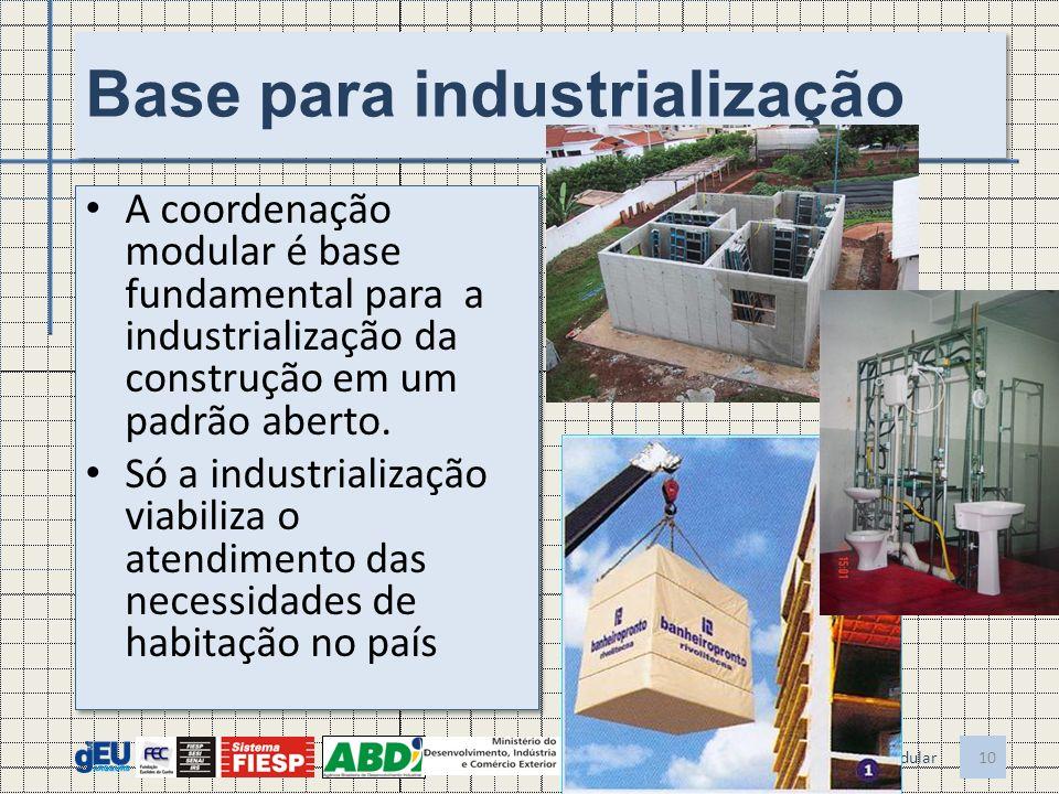 Base para industrialização A coordenação modular é base fundamental para a industrialização da construção em um padrão aberto. Só a industrialização v