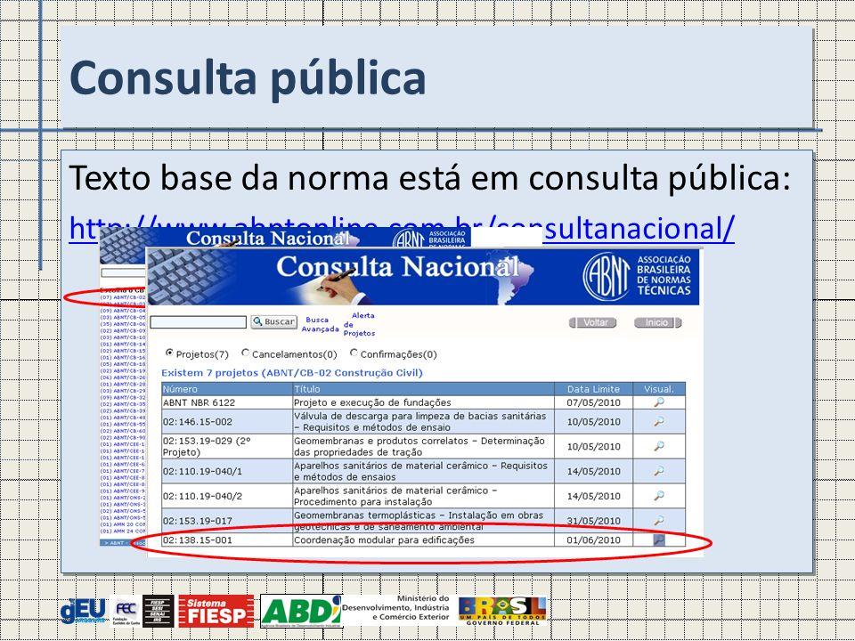 Texto base da norma está em consulta pública: http://www.abntonline.com.br/consultanacional/ Texto base da norma está em consulta pública: http://www.