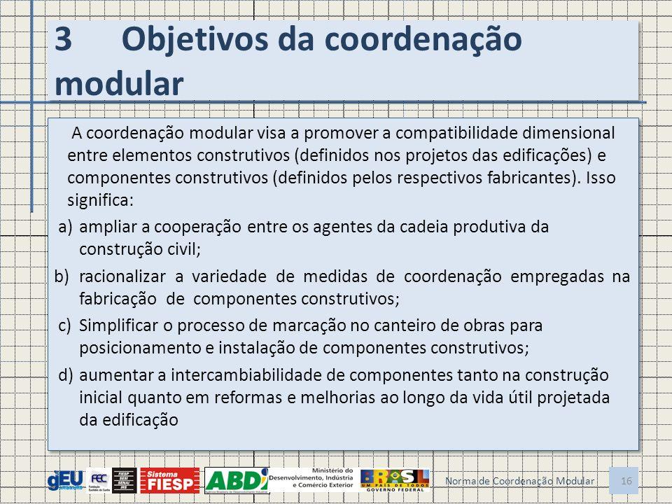 3Objetivos da coordenação modular A coordenação modular visa a promover a compatibilidade dimensional entre elementos construtivos (definidos nos proj