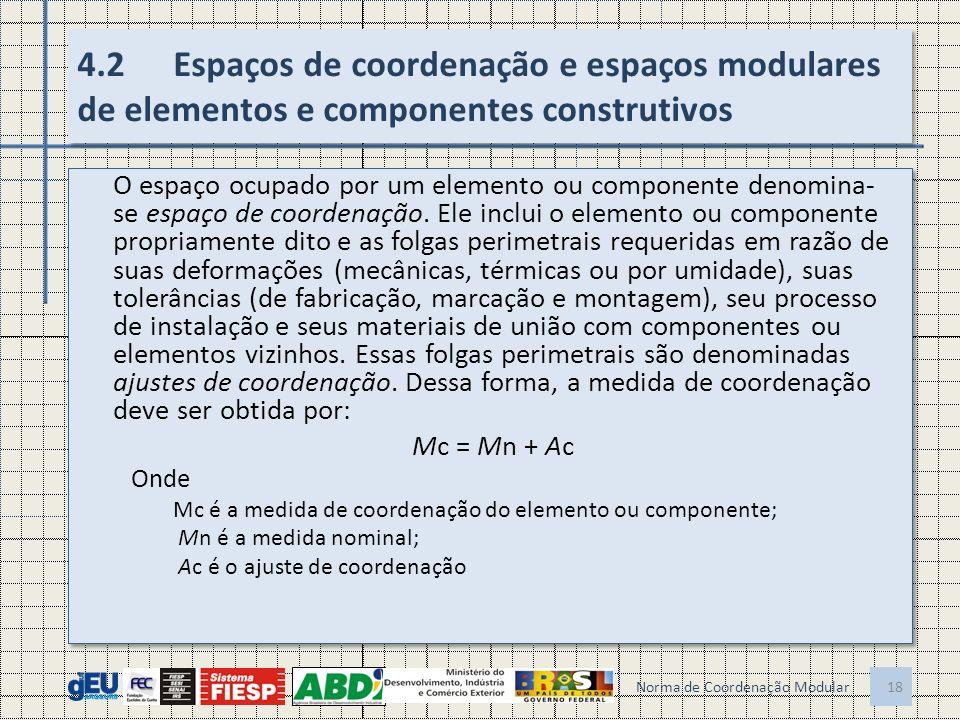 4.2Espaços de coordenação e espaços modulares de elementos e componentes construtivos O espaço ocupado por um elemento ou componente denomina- se espaço de coordenação.