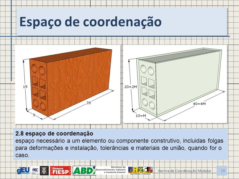 19 Espaço de coordenação 19 Norma de Coordenação Modular 2.8 espaço de coordenação espaço necessário a um elemento ou componente construtivo, incluida