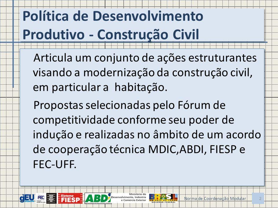 Política de Desenvolvimento Produtivo - Construção Civil Articula um conjunto de ações estruturantes visando a modernização da construção civil, em particular a habitação.