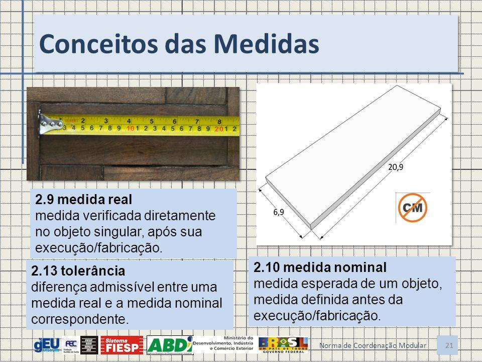 21 Conceitos das Medidas 21 Norma de Coordenação Modular 2.9 medida real medida verificada diretamente no objeto singular, após sua execução/fabricação.